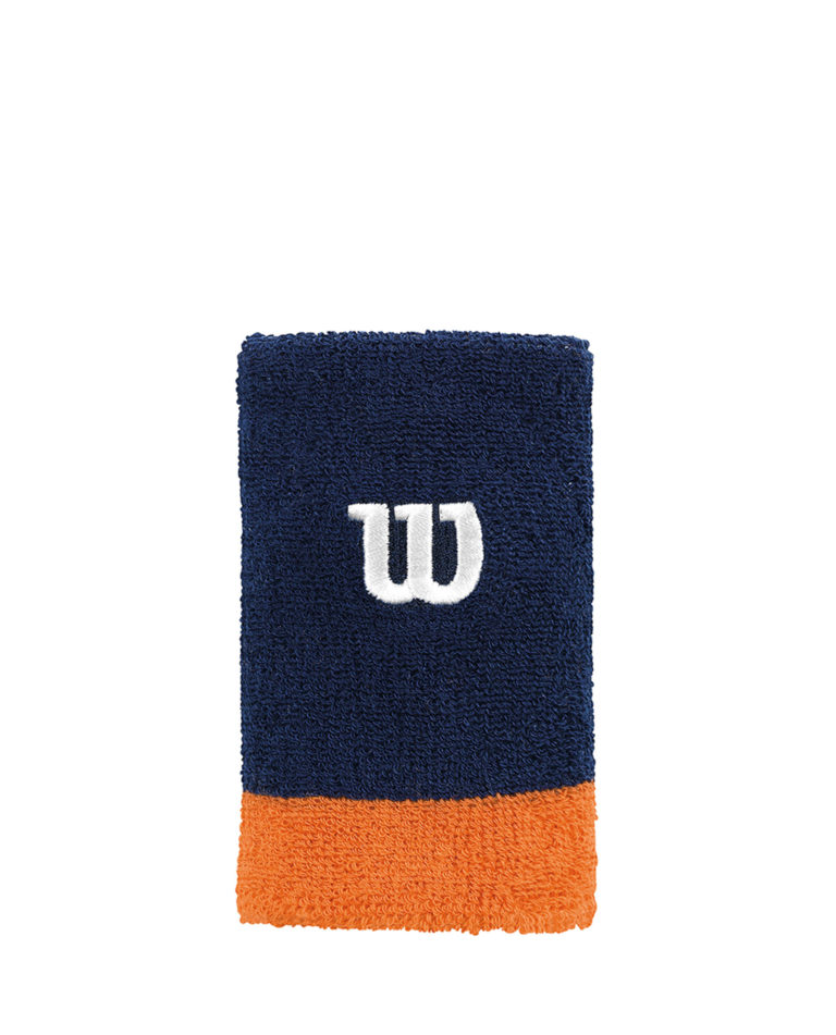 Wilson Extra Wide Wristband 2 Pack Navy Orange